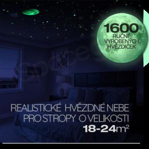 Realistická noční obloha na strop s 1600 zářícími hvězdičkami