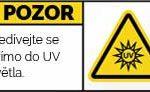 Pozor UV záření. Nedívejte se přímo do světla
