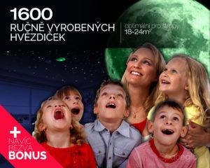 Realistická noční obloha na strop s 1600 svítícími hvězdičkami od Spaceglo.cz