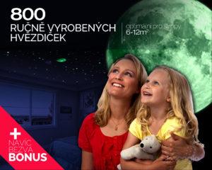 Noční hvězdná obloha na strop s 800 svítícími hvězdičkami ze Spaceglo.cz