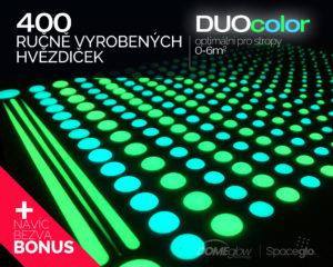 DUOcolor 400 svítících hvězdiček na strop dětského pokoje nebo ložnice