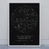 Svitici hvezdna mapa vaseho zivotniho okamziku skandinavsky styl cerna kompas sever jih DEN