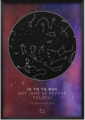 Svitici hvezdna mapa zivotniho okamziku hluboky vesmir oranzovo fialovo ruzovy