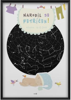 Svitici hvezdna mapa zivotniho okamziku ilustrovana k narozeni ditete kluk 010