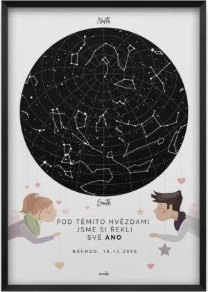Svítící hvězdná mapa životního okamžiku ilustrovaná: milenci se srdíčky