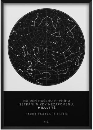 Svitici hvezdna mapa zivotniho okamziku skandinavsky styl černo bílá
