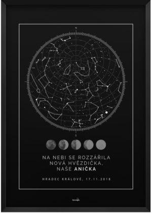 Svítící hvězdná mapa životního okamžiku skandinávský styl fáze Měsíce černá