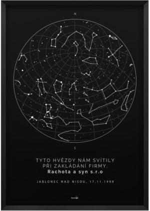Svítící hvězdná mapa životního okamžiku - Skandinávský styl černá kompas sever jih