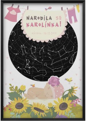 Ilustrovana svitici mapa nocni oblohy ilustrovana darek k narozeni miminka - holcicky