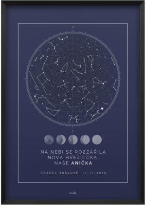 Svitici hvezdna mapa nocni oblohy skandinavsky styl pulnocni modra faze mesice