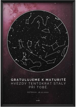 "Svitici hvezdna mapa nocni oblohy vaseho zivotniho okamziku hluboky vesmir ""gratulujeme k maturite"" cerveny"