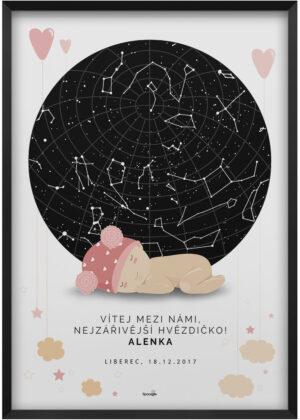 Svítící mapa hvězdné noční oblohy k narození miminka / holčičky - Ilustrovaná: Vítej mez námi...