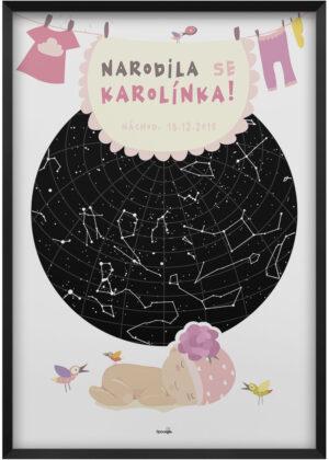 Svítící hvězdná mapa jako originální dárek k narození holčičky
