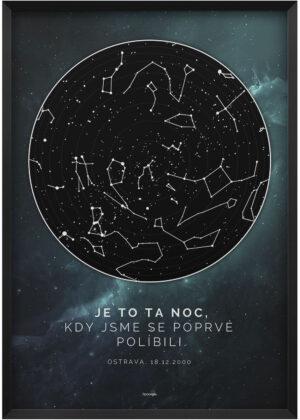Svitici mapa nocni oblohy hluboky vesmir s hvezdami zeleno modry