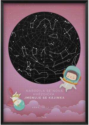 Dětský obraz - Ilustrovana svitici hvezdna mapa pro holcicku-kosmonautka a jednorozec